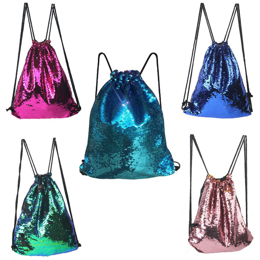 Boy Girl Sequins drawstring bag Colorful Package Bags Travel Bling Backpack For Women drawstring backpack mochila saco 6.43(China)