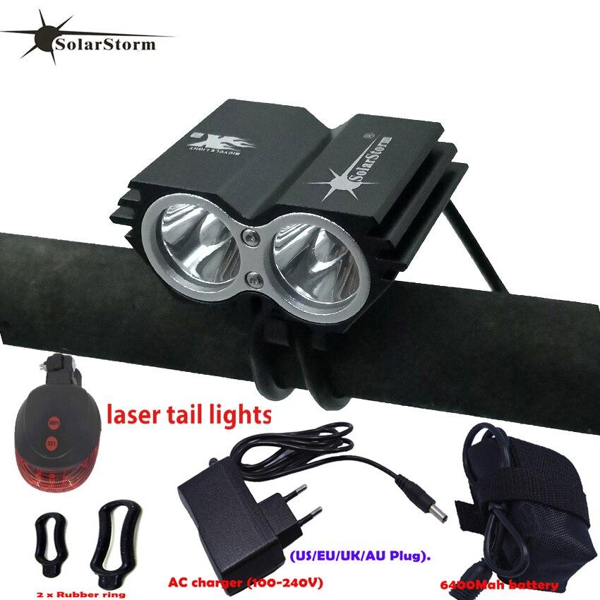Poderosa lâmpada led T6 X2 XM-L LEVOU À Prova D' Água Recarregável 5000 lumen luz Da Bicicleta Preta Mountain Bike Light + Luz Da Cauda + carregador B