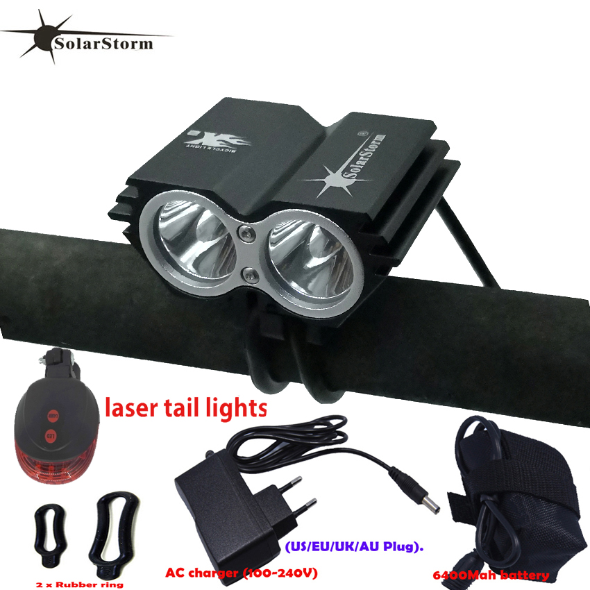 Powerful Led Lamp X2 XM-L T6 LED Rechargeable Waterproof 5000 Lumen Light Black Bicycle Mountain Bike Light+Tail Light+Charger B