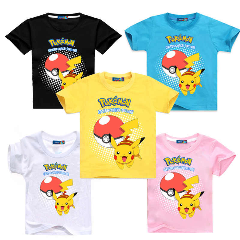 f75c7cb0aeb Summer Children Short Sleeve T-Shirts Kids Cotton Cartoon Pokemon Go Print  Boys Girl Tops