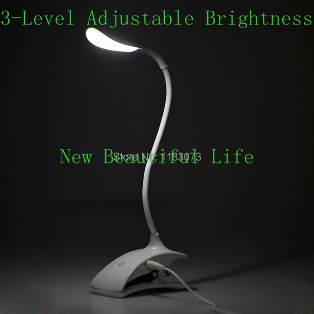 Flexible LED Reading Light 3-Level Adjustable Brightness USB Rechargeable Touch Sensor Switch Desk Table Lamp Eyes Protection