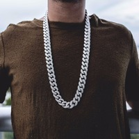 20 24 28 top quality AAAA+ cubic zirconia cuban link Miami chain layer fashion luxury Cool golden boy men chain necklace