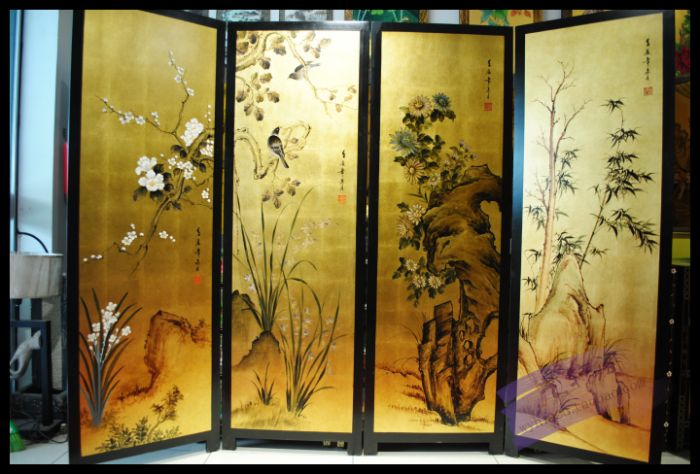 Painted screen, hand painted lacquer, high-grade gold foil, new classical club, screen partition, background wall screen, Four S porcelaine czech gold hand поднос сакура porcelaine czech gold hand s r o 30х25 см