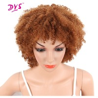 Deyngs Afro Kinky Curly Short None Lace Front Wigs For Black Women Natural Synthetic Hairstyle Brown