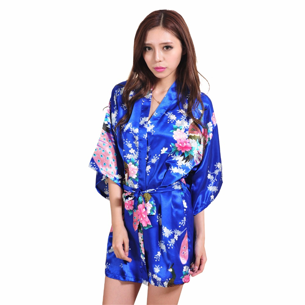 Sexy Blue Women Kimono Bath Dress Gown Chinese Style Silk Mini Robe Summer Casual Nightwear Floral Plus Size XXXL NR153