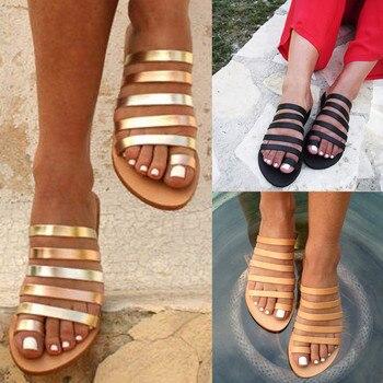 43a59576 Retro Sandalias planas mujeres zapatos de playa de verano de Chanclas Mujer  diapositivas zapatillas de Mujer Sandalias Sandalia femenina