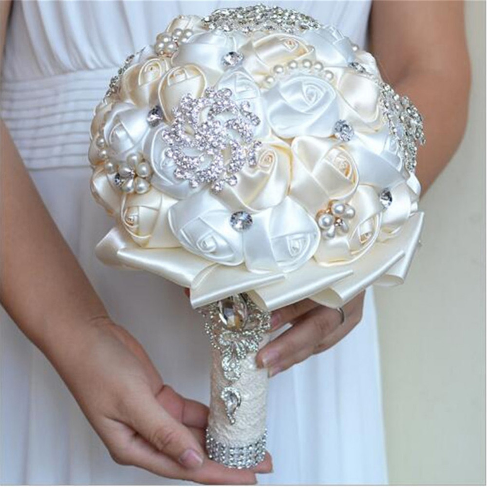 Wedding flower romantic bride hand held flowers bridal bouquets silk wedding flower romantic bride hand held flowers bridal bouquets silk roses dried flowers hand bouquet decoration for wedding in artificial dried flowers izmirmasajfo