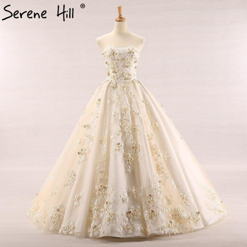 Champagne Color Wedding Dresses Vestidos De Noiva 2017: Sexy Strapless Lace Vintage Wedding Dress Champagne