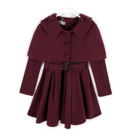Fashion two pieces dress and poncho set 4 to 15 years old childrens winter clothing 2017