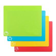 4 UNIDS/SET Plástico antideslizante Esteras Rectángulo Tajo Tabla De Cortar Flexible Con Iconos de Alimentos Utensilios de cocina