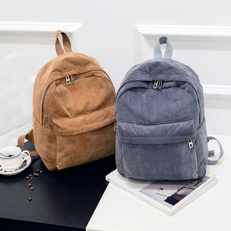 New Women Men Casual <font><b>Backpack</b></font> <font><b>Unisex</b></font> Preppy Student Girl School Bag Rucksacks Female Shopping Corduroy <font><b>Backpacks</b></font> image