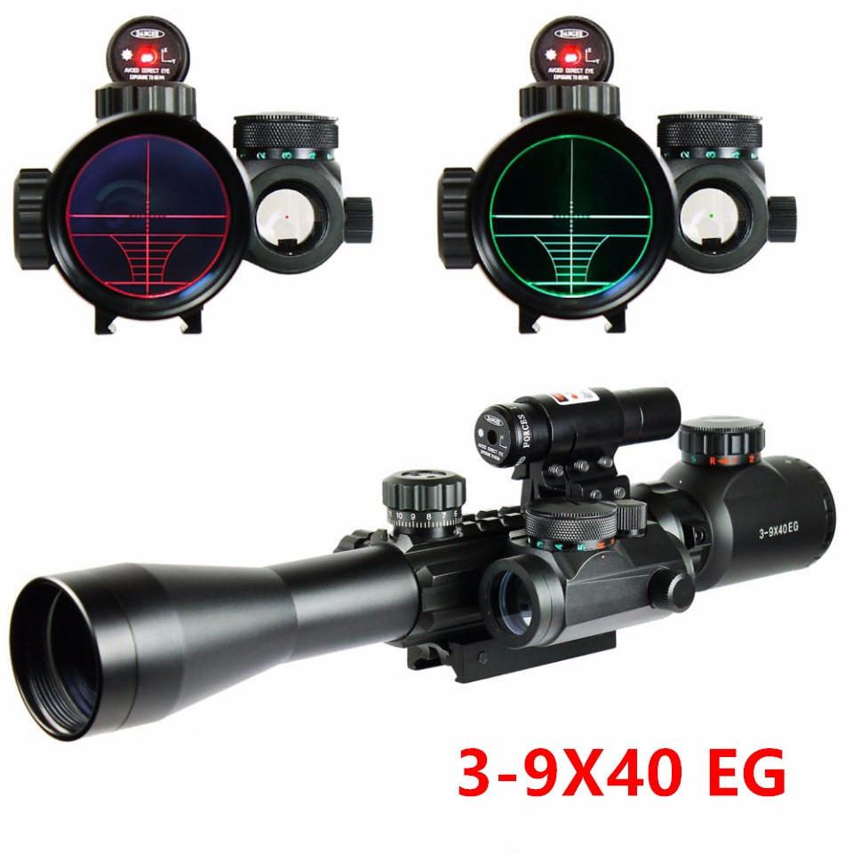 ФОТО New Type C3-9X40EG Scope Combo Illuminated Tactical Rifle Scope Optical Sight &HD22M1-RG Holographic Dot Sight+Red Laser Sight
