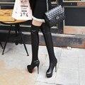 Más el Tamaño 35-46 Botas de Las Mujeres Americanas Europeas Otoño Plataforma de Tacón Alto Ultra Delgado Zapatos Botas Largas de Las Señoras Más de Botas hasta la rodilla