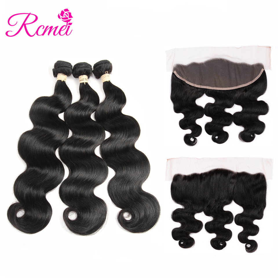 Rcmei Brazilian Body Wave Remy Hair Bundles With Lace Frontal Closure 3 Bundles With Frontal Lace Remy Human Hair Extensions