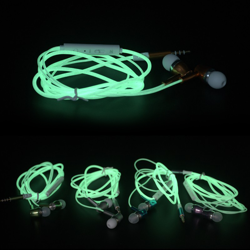 1PC Glow In The Dark Earphones Luminous Headphones Night Light Glowing Headset In-Ear Stereo Sport Headphone With Mic 2016 in the dark luminous earphones in ear flash light glowing earbuds with mic neon night light universal