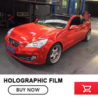 Super Quality 3 Layers Red Holographic Vinyl Wrap Film With Air Free Bubbles Chrome Holographic Sticker
