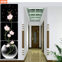 UzeQu Triple Painting Wall Clock 5D DIY Diamond Painting Cross Stitch Floral Vase Diamond Rhinestone Watch