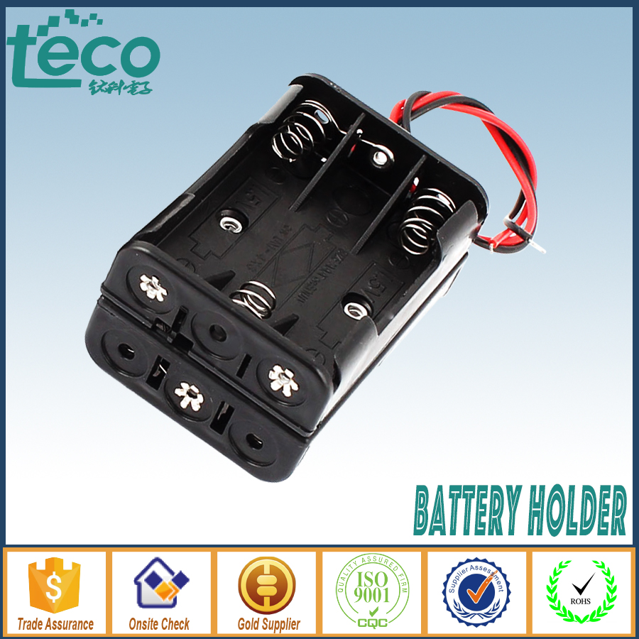 2pcslot 6 AAA Battery Storage Box Case Double Side battery Holder Wired for 6 AAA Batteries TBH-3A-6E-W