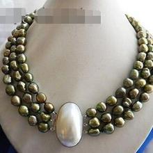 > 3 нити 18 ''10 мм зеленый барокко пресноводный жемчуг ожерелье hi