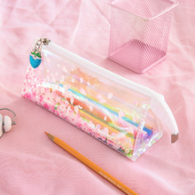 Pink cherry blossom Pencil Case Quality PU School Supplies Bts Stationery Gift Pencilcase School Cute Pencil Box School Tools