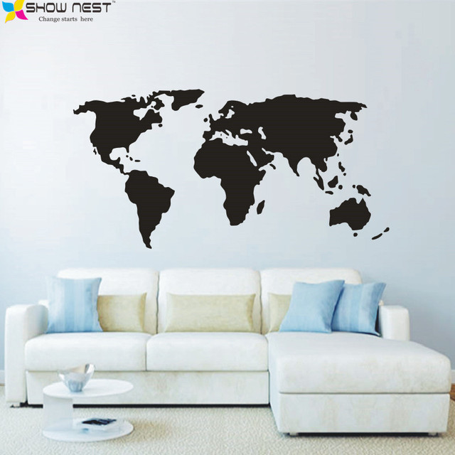 Aliexpress buy world map wall decals vinyl sticker home decor world map wall decals vinyl sticker home decor children playroom bedroom wall art mural gumiabroncs Gallery