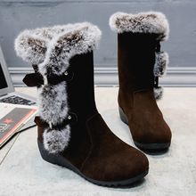 Winter 2018 Women Snow Boots Fur Boots Mid-Calf Rabbit Fur Wedges Platform Shoes Woman Fashion Casual Slip-On Warm Women Shoes