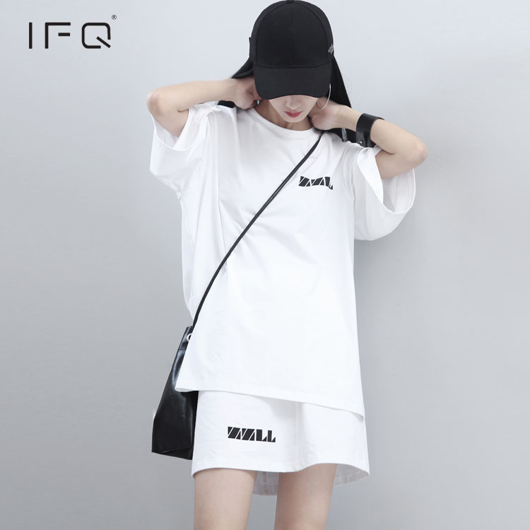 IFQ 2017 k pop white two piece set Korean high street Crop Tops And Skirt Set above knee back print words outfit tracksuit