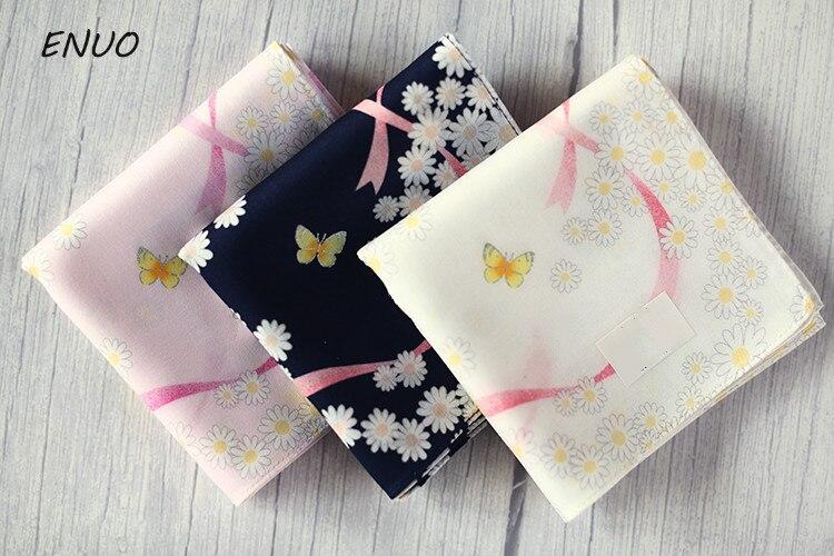 Ethnic Flower Ladies 100% Cotton Handkerchiefs Ladies Baby Handkerchiefs Pure Cotton Thin Style Small Scarves 48X48CM