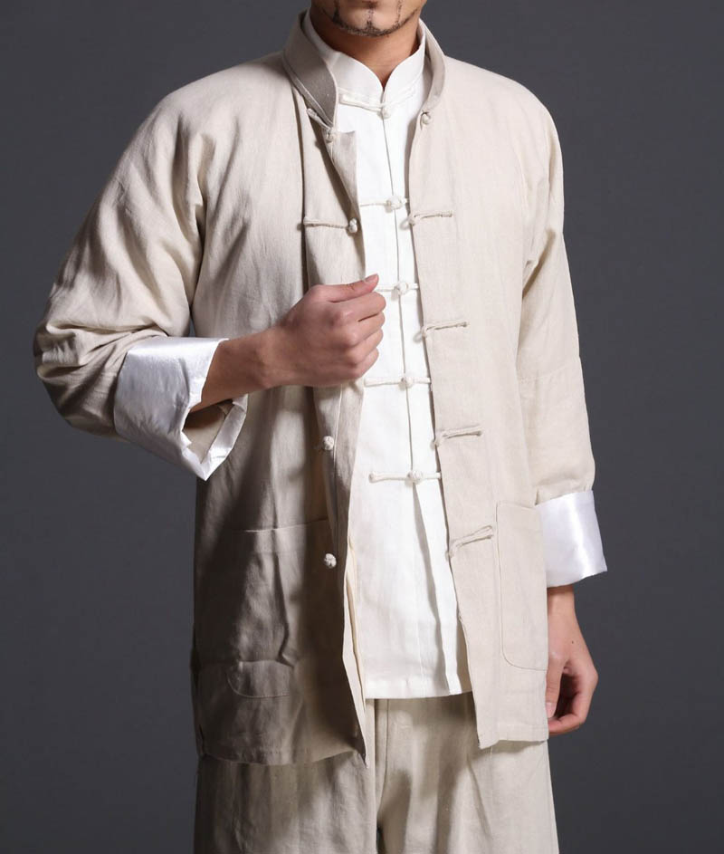все цены на New Beige kung fu clothing Wing Chun uniforms set Martial arts tai chi clothes Bruce Lee Vintage chinese traditional Tang suits