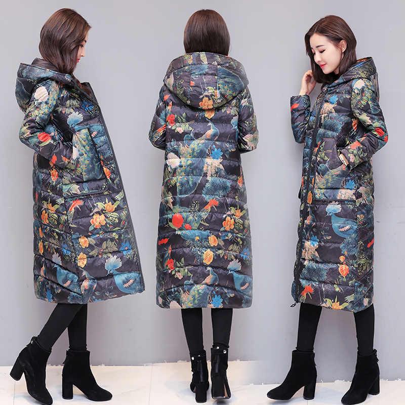 Tcyeek зимняя куртка-пуховик Для женщин длинный пуховик женский печати с капюшоном плотная теплая одежда зимние куртки Плюс Размеры пальто LWL1050