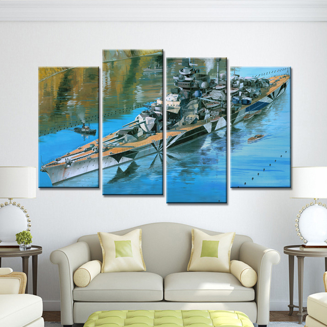 Dropshipping 4 Pieces Big Ship Painting On Canvas Home Decor Art Posters  And Prints Modern Nordic
