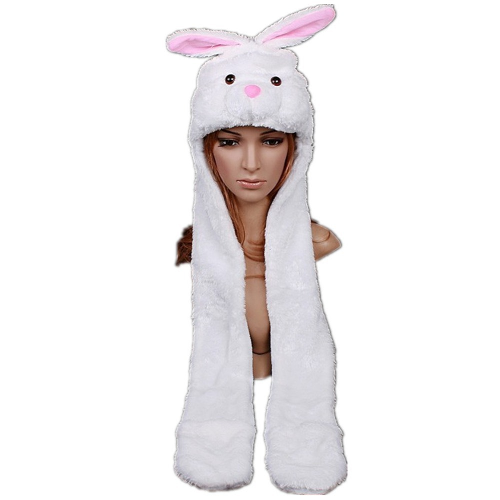 DOUBCHOW Cute Plush White Rabbit Bunny Animal Hats with Paws Gloves for Womens Mens Teenagers Kids Boys Girls Winter Beanie Cap