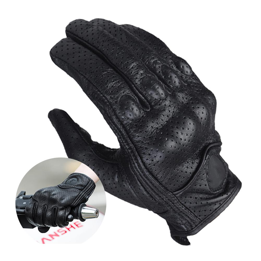 Motorcycle Full Finger Leather Gloves Touchscreen Breathable Windproof Protective Gear For Outdoor Racing Motocross Gloves