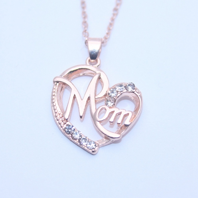 fashion heart shape letter mom pendant necklaces high quality moms birthday jewelry mothers day pendants gift