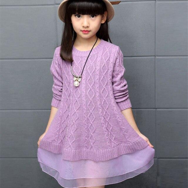 Детские платья свитер для девочек 2016 осень зима хлопок свитер платье для девочек детская школьная одежда 5 7 9 11 12 лет
