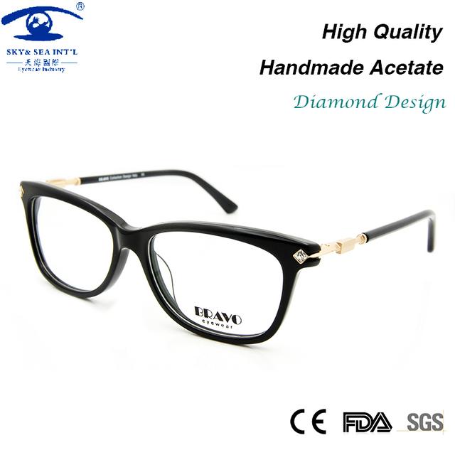 Alta Qualidade Armações de Óculos de Olho para As Mulheres de Vidro do Diamante Quadro de Moda Miopia Óculos Femininos Rx Espetáculo Quadro Lente Clara