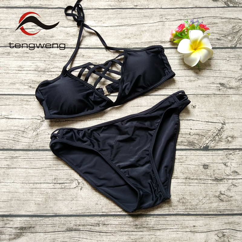 Tengweng 2018 Summer New Sexy Thong Two piece Women bikini Brazilian Swimwear Cheap Micro Swimsuit Push up Female Bathing suit