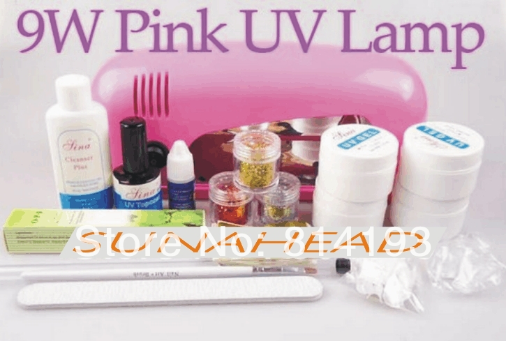 ФОТО Pro Full Set High Quality UV Gel Nail Kit Pink Color UV Lamp 9W Flase Acrylic Tips New Decoration + New