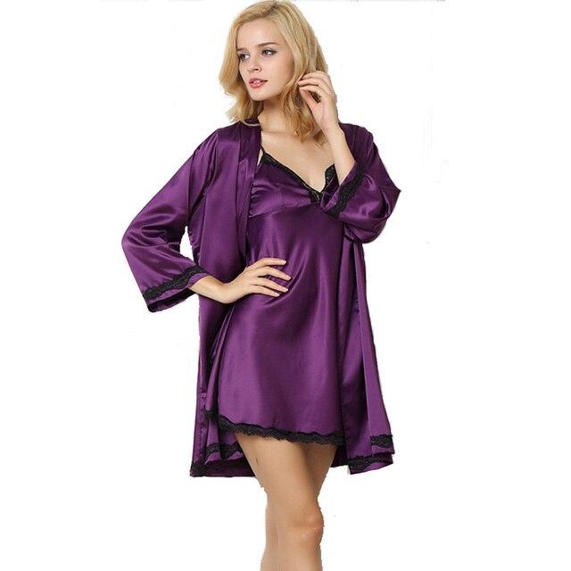 2017 new design women's nightgown + bathrobe two pieces sleep & lounge set luxury sexy female sleepwear silk satin drop shipping