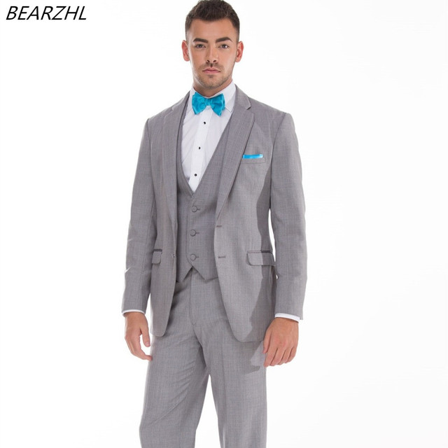 91e9356c2e1 western wedding suits groom tuxedo summer wear 3 piece suit light gray high  quality dress for