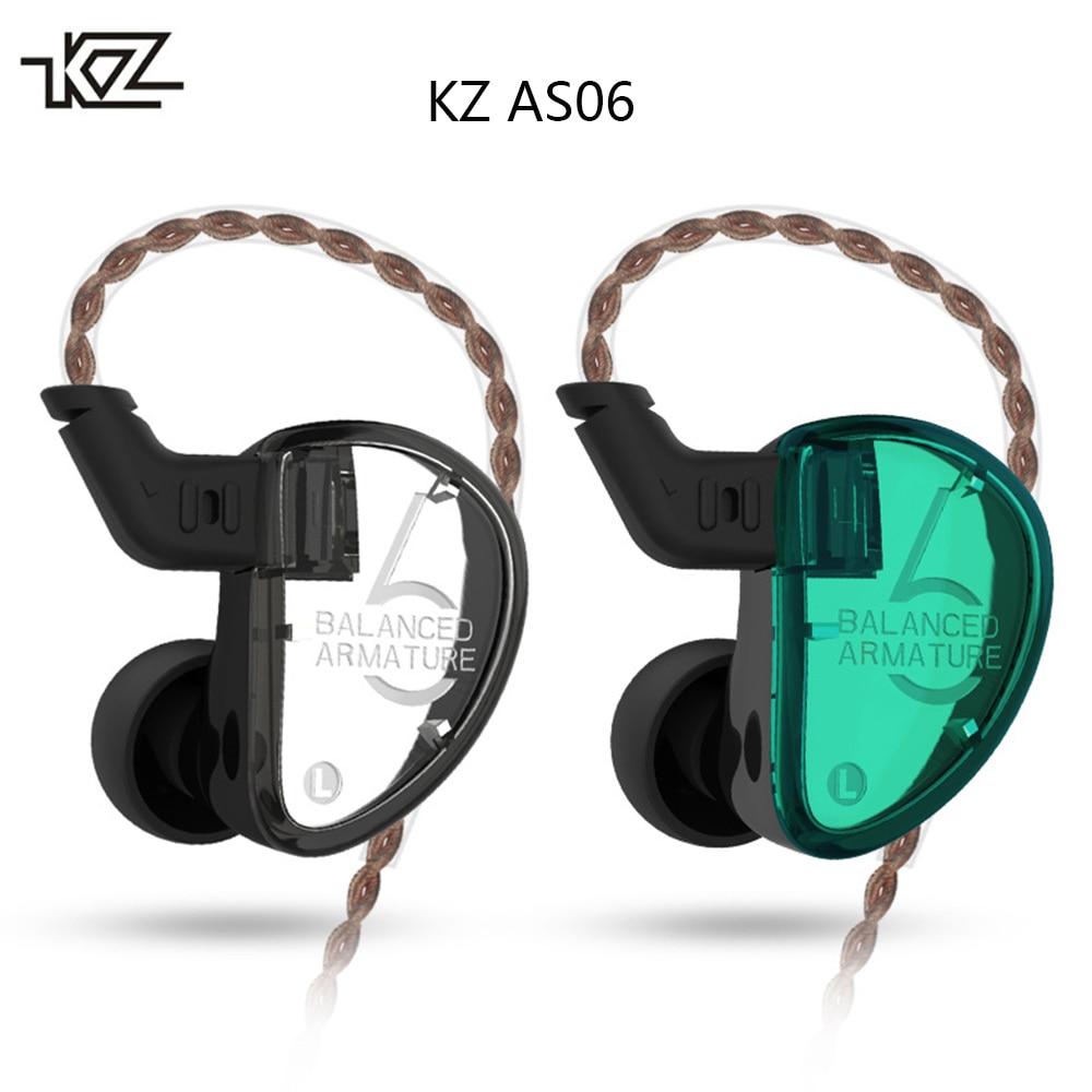 D'origine KZ AS06 3 Unités Armature Équilibrée Écouteurs Détachable Dans L'oreille Écouteur Bruit Isolement Basse Lourde HiFi Sport Écouteurs