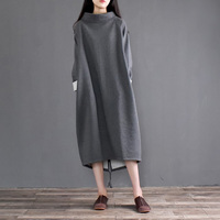 2017 Autumn Winter Dress Women Cotton Dress Vestido Fleece Thickening Turtleneck Long Sleeve Loose Robe Plus
