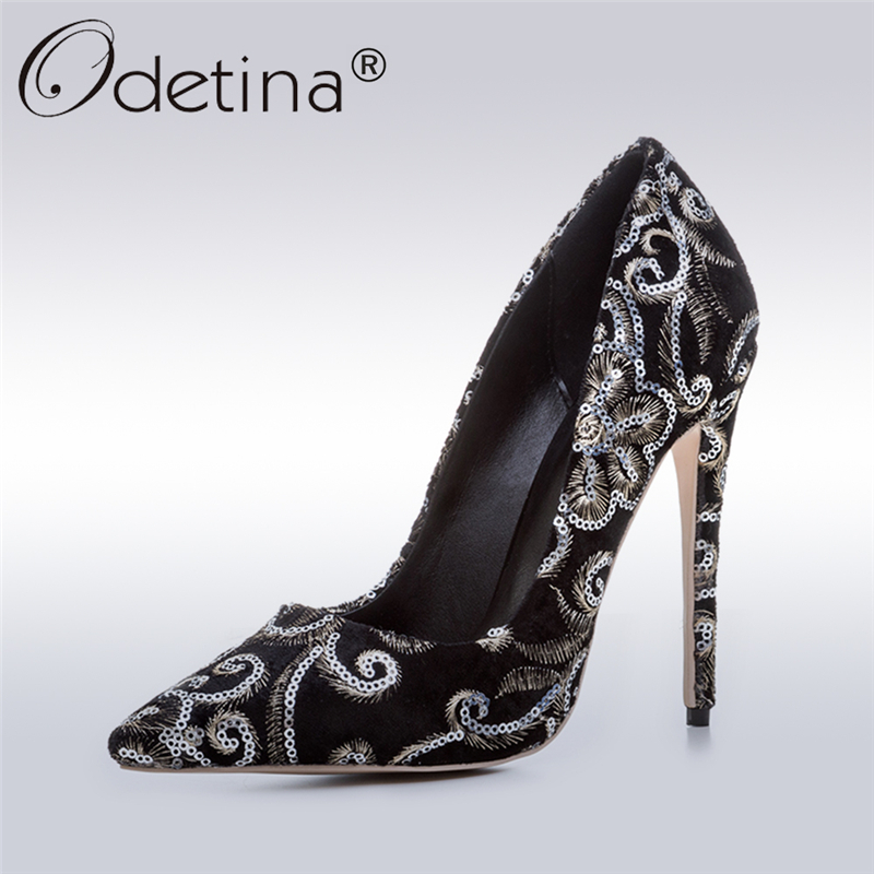 Odetina 2017 Fashion Bling Pumps Women High Heels Sexy Stilettos Shoes Supper High Heel Pointed Toe Dress Shoes Plus Size 33-43 red brown tassel women sandal stilettos shoes women sandal open toe made to order plus size 14 stilettos discount dress shoe