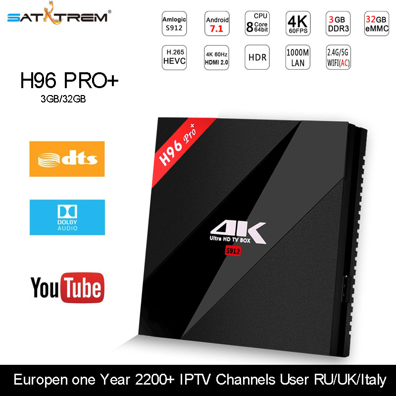 H96 PRO Plus Amologic S912 Octa-core Android 7.1 tv box 3GB 32GB Rom 2.4Gwifi BT4.1 H. 265 HEVC support youtube skype media play