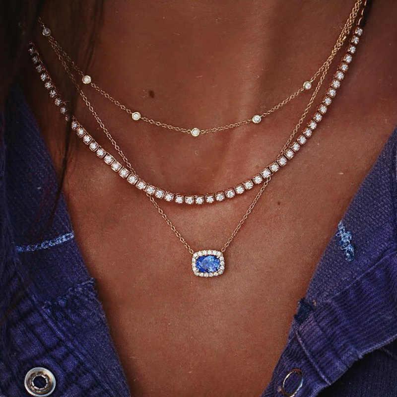 Famshin Trendi Wanita Biru Kristal Liontin Zircon Kalung Manik Bulat Klavikula Rantai Bohemian Pesona Pantai Kalung Pesta Perhiasan