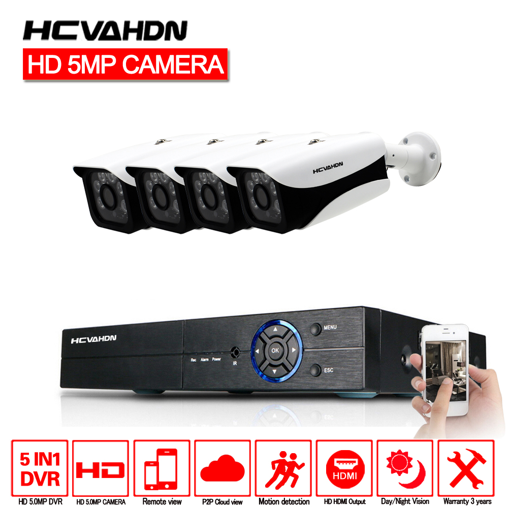 HCVAHDN 5.0MP 4CH Caméra de Sécurité Système de Surveillance CCTV Kit 40 m Nuit Vision Caméra HDMI P2P DVR 5MP Vidéo Sortie kits