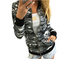 Casual Women Army Camouflage Print Bomber Jacket Lady Autumn Winter Basic Coat Girl Stand Collar Zipper Exercise Outerwear Sep26