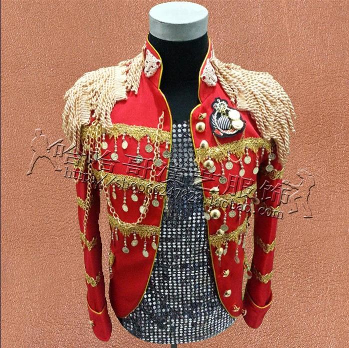 De Punk roupas vestido estilo estrela homens blazer designs homme terno figurinos para os cantores homens jaqueta ternos roupas de dança vermelho