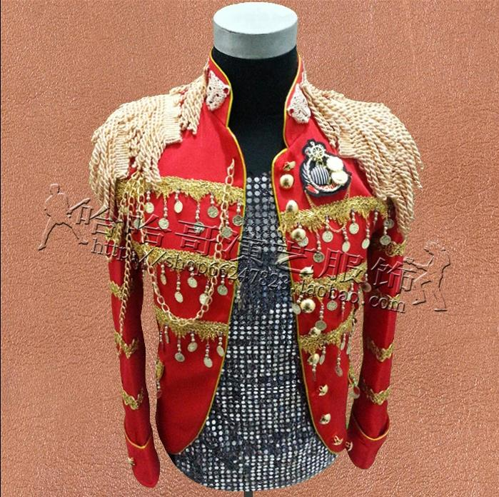 Punk clothes star style dress men blazer designs homme terno stage costumes for singers jacket men suits dance clothing red