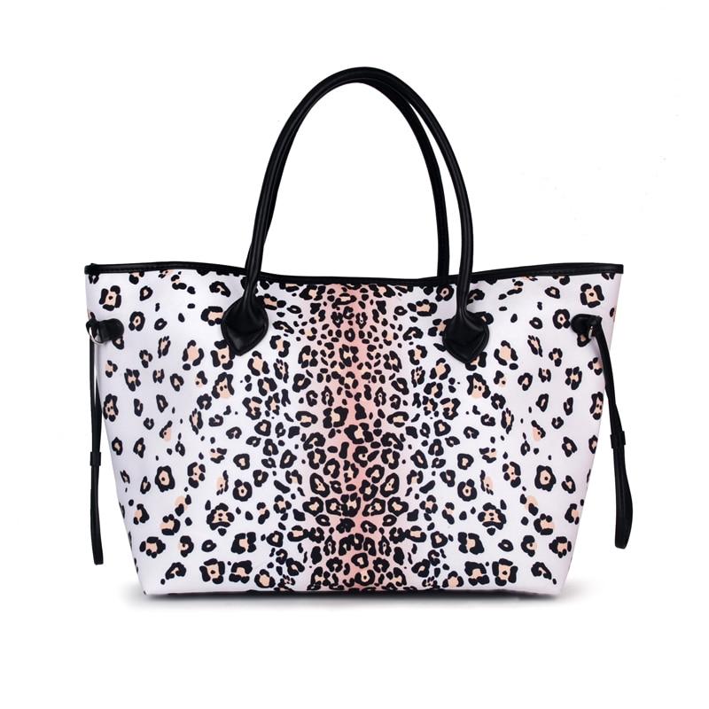 23691f767fec Оптовая продажа Snow Leopard узоры Холст сумка с черными ручками, большие  сумки со шнуром отделкой